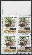 1995 MOZAMBIQUE 1300** Fleur,surchargé,  Bloc De 4, Issu De Série - Mozambique