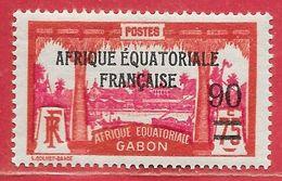 Gabon N°110 90c Sur 75c Rouge & Rose-lilas 1926-27 * - Nuevos