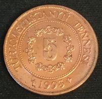 TURKMENISTAN - 5 TENGE 1993 - KM 2 - Président Saparmyrat Nyýazow - Turkmenistan
