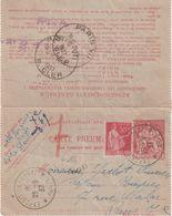 """FRANCE : ENTIER POSTAL . CARTE PNEUMATIQUE . AVEC COMPLEMENT 50 C TYPE PAIX . OBL . """" EXPOSITION DE 1937 """" . 25/09/1937 - Neumáticos"""