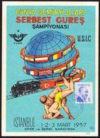 1957 Istanbul Türkei. Freistilringen Event. Welteisenbahn. Gelaufene AK - Wrestling