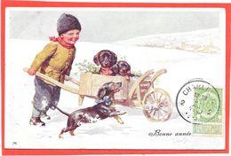 FEIERTAG - Trois Chiens Teckel Dans Une Brouette Poussée Par Un Petit Garçon - Viennoise De B.K.W.I 2782-6 - Feiertag, Karl