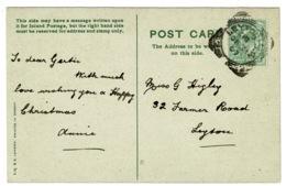 Ref 1379 - 1907 Greetings Postcard - Leyton S.O. Squared Circle Postmark - London - Storia Postale