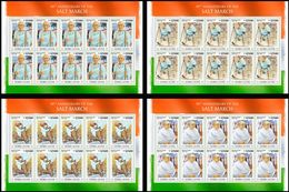 SIERRA LEONE 2020 - Salt March, M. Gandhi, 4 M/S. Official Issue [SRL200220d] - Mahatma Gandhi