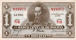 BOLIVIA 1 BOLIVIANO 1928 P-128a2  Xf+aUNC  SERIE  T10 - Bolivia