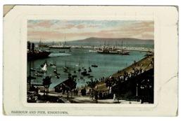 Ref 1380 - 1911 Postcard - Harbour & Pier Kingstown County Dublin Ireland Eire - KGV Stamp - Dublin