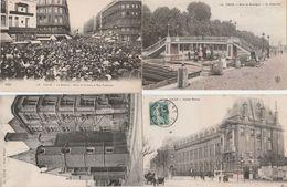 4 CPA:LILLE (59) PALAIS RIHOUR,LA BRADERIE PLACE DE LA GARE ET RUE FAIDHERBE,INSTITUT PASTEUR,BOIS DE BOULOGNE - Lille