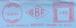 AFFRANCATURA ROSSA  - G.B.F.  - BRESSO MILANO  - COSTRUZIONI MECCANICHE - 6. 1946-.. Repubblica
