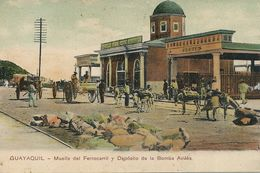 Guayaquil Muelle Del Ferrocarril Y Deposito De La Bomba Avilès . Bomberos . Pompiers - Ecuador