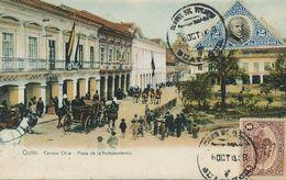 Quito Carrera Chile Plaza De La Independencia  . P. Used 2 Nice Stamps - Ecuador