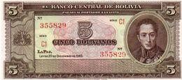 BOLIVIA 5 BOLIVIANOS 1945 P-138d   UNC - Bolivia