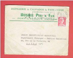 ENVELOPPE 1955 DISTILLERIE DE CALVADOS DU PAYS D AUGE BUSNEL A PONT L EVEQUE CALVADOS - Francia