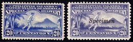 1906/1919 Special Delivery Marken 20 Cent. Ungebraucht, 2 Farbnuancen. 1 Marke SPECIMEN Überdruck. - Philippines