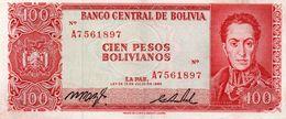 BOLIVIA 100 PESOS BOLIVIANOS 1962  P-163  XF - Bolivien