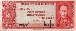 BOLIVIA 100 PESOS BOLIVIANOS 1962  P-164Aa1  XF - Bolivien