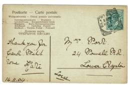 Ref 1382 - 1904 Postcard - Clapton S.O. / E. Squared Circle Postmark - Storia Postale