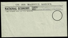 Ref 1383 - WWI On His Majesty's Service - National Economy Gummed Label - For Postal Use - Vieux Papiers