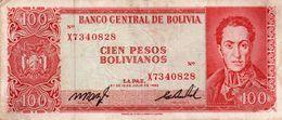 BOLIVIA 100 PESOS BOLIVIANOS 1962  P-163a  VF++  SERIE X 7340828 - Bolivien