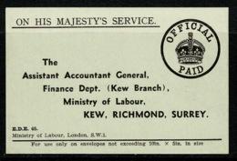 Ref 1383 - GB WWI Gummed Label - On His Majesty's Service - Official Paid - Kew Surrey - Vieux Papiers