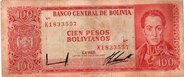 BOLIVIA 100 PESOS BOLIVIANOS 1962  P-163a  CIRC   SERIE RED K 1833557 - Bolivia