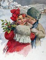 Bonne Année - Couple D'enfant Paysage Enneigé - KARL FEIERTAG -  Happy New Year - Child Couple Snowy Landscape - Feiertag, Karl