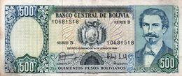 BOLIVIA 500 PESOS BOLIVIANOS 1981  P-166a  CIRC - Bolivia