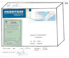 TIMBRE DISTRIBUTEUR 75 FRANCS LYON CRF MONTESQUIEU ETIQUETTE DOUANE POUR ANKARA TURQUIE - Vignettes D'affranchissement