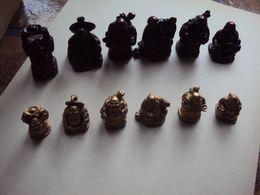 12 (2 X 6) Gelukbrengende Mini Budha (gezondheid,welvaart,dagdagelijks,kracht,wijsheid En Bescherming) Porte Bonheurs - Santons/Fèves
