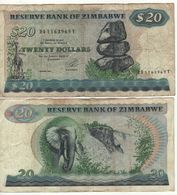 ZIMBABWE. 20 Dollars P4d  1994  Elephant-Victoria Falls - Simbabwe