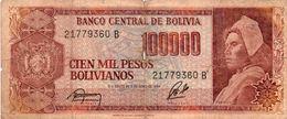 BOLIVIA 100000 PESOS BOLIVIANOS 1984 P-171a2 CIRC - Bolivia