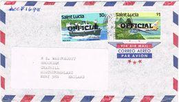 36862. Carta Aerea OFFICIAL  CASTRIES (Santa Lucia) 1984 To England - St.Lucia (1979-...)