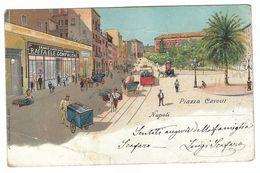 CLA185 - NAPOLI PIAZZA CAVOUR DISEGNATA COLORI UMORISTICA NAIF 1909 TENSI MILANO - Napoli