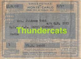 SWEEPSTAKE DE MONTE CARLO GRAND PRIX DE MONACO 1937  TICKET - Tickets D'entrée