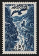 Andorre Poste Aérienne N°4, 500fr Bleu, Neuf ** Sans Charnière COTE 145 € - TB - Poste Aérienne