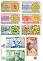 Kazakhstan Lot Set 9 Banknotes 1/2/5/10/20/50 Tyin 1/3/5 Tenge 1993 UNC. CV. - Kazakhstan