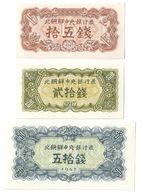 North Korea Lot Set 3 Banknotes  15/20/50 Chon 1947 UNC. CV. - Corée Du Nord