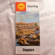 OLD Depliant Prospekt LARGE DOUBLE SIDES MAP SHELL TOURING SINGAPORE  '60s. RR - Cartes