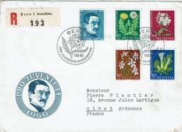 T.P. 668/72 S/L. Recommandée (FDC) De BERN Du 1-XII-60 à GIVET (FRANCE) Obl. Arrivée 8-12-1960 - Lettres & Documents