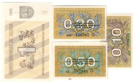 Lithuania Lot Set 4 Banknotes  0.10/0.20/0.50/1 Talonas 1991 UNC .CV. - Lithuania
