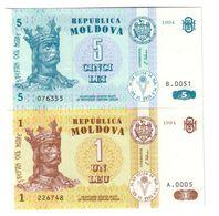 Moldova Lot Set 2 Banknotes 1/5 Leu 1994 UNC .CV. - Moldavie