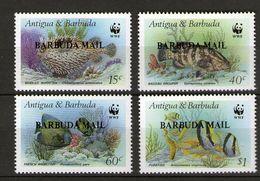 1987 Barbuda Mi.953-56 WWF Fische Buchdruck-Aufdruck BARBUDA-MAIL Auf Antigua & Barbuda Mi.1010-13 **/MNH - W.W.F.