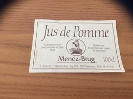 Etiquette De Jus De Pomme «Menez-Brug » (Fouesnant (29) - Coiffe Bretonne - Etiquettes
