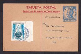 El Salvador: Stationery Postcard To USA, 1964, Extra Stamp, History, Religion, Globe, Rare (small Water Stain) - El Salvador