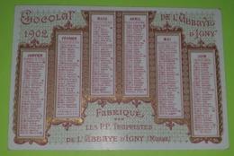 CALENDRIER 1902 - Publicité CHOCOLAT De L'ABBAYE D'IGNY (51) - Environ 11x7.5 - Bon état D'usage - Calendari