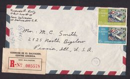 El Salvador: Registered Airmail Cover To USA, 1959, 2 Stamps, Hotel, Architecture, Tourism, R-label (minor Damage) - El Salvador