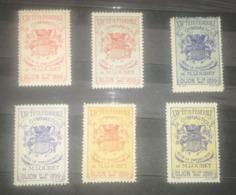 SERIE 6 Vignettes - XXV.e FÊTE FÉDÉRALE DE GYMNASTIQUE SOUS LA PRÉSIDENCE DE M. LOUBET DIJON 21-22 MAI 1899 - MNH - Commemorative Labels