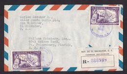 El Salvador: Registered Airmail Cover To USA, 1956, 2 Stamps, Map, Lady, R-label (minor Damage) - El Salvador
