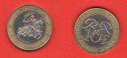 Monaco 10 Franchi Francs Principate 1993 Bimetallica Bimetallic - 1960-2001 Francos Nuevos