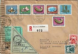 T.P. 661/5 + 663 S/L. Rec. FDC De BERN 1 Du 6-XII-60 à GIVET + Contrôle DOUANE + Bande Fermeture + T.Taxe Français - Lettres & Documents