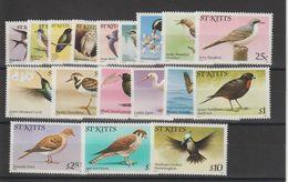 Saint Kitts 1982 Oiseaux 494-511 18 Val ** MNH - St.Kitts Und Nevis ( 1983-...)